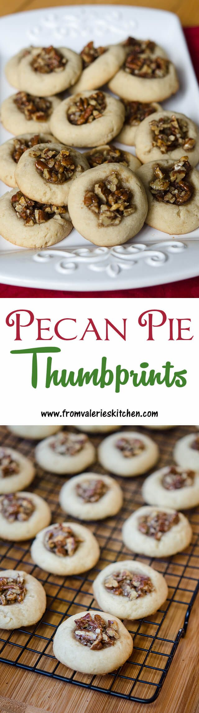 All the goodness of pecan pie in cookie form. A great addition to your Christmas cookie tray! ~ http://www.fromvalerieskitchen.com