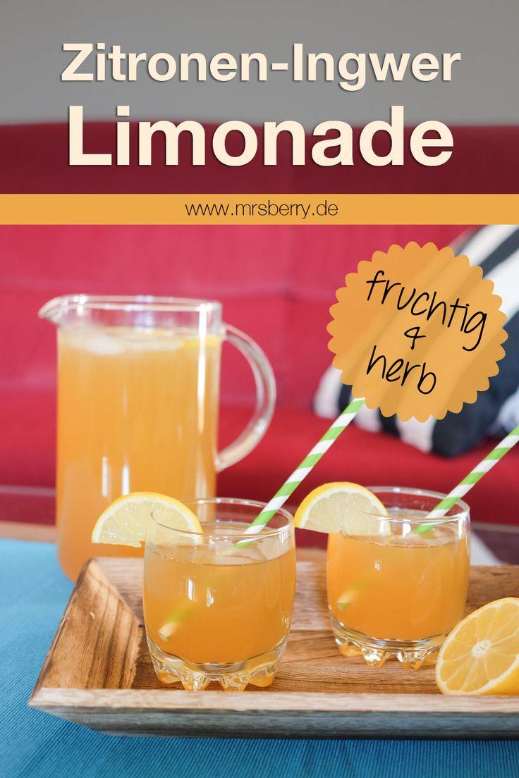Selbstgemachte Limonade: dank des fruchtig & herben Geschmacks dieser Zitronen-Ingwer-Limonade ist sie gerade im Sommer ein belebendes Erfrischungsgetränk. Für die Zubereitung der Limonade braucht es nur 3 Zutaten. Deshalb gehts auch besonders schnell und einfach. Dieses und weitere Rezepte findet ihr auf www.mrsberry.de