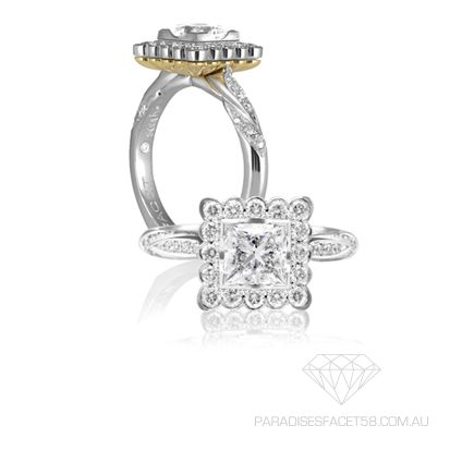 Saachi 'Leilani' Ring  www.paradisesfacet58.com.au  Designer flare added to timeless elegance.   This Princess cut modern halo speaks feminity and elegance.  The Round Brilliant Diamonds cascading around the shoulders gives shimmer and richness to the depth of this incredible design.