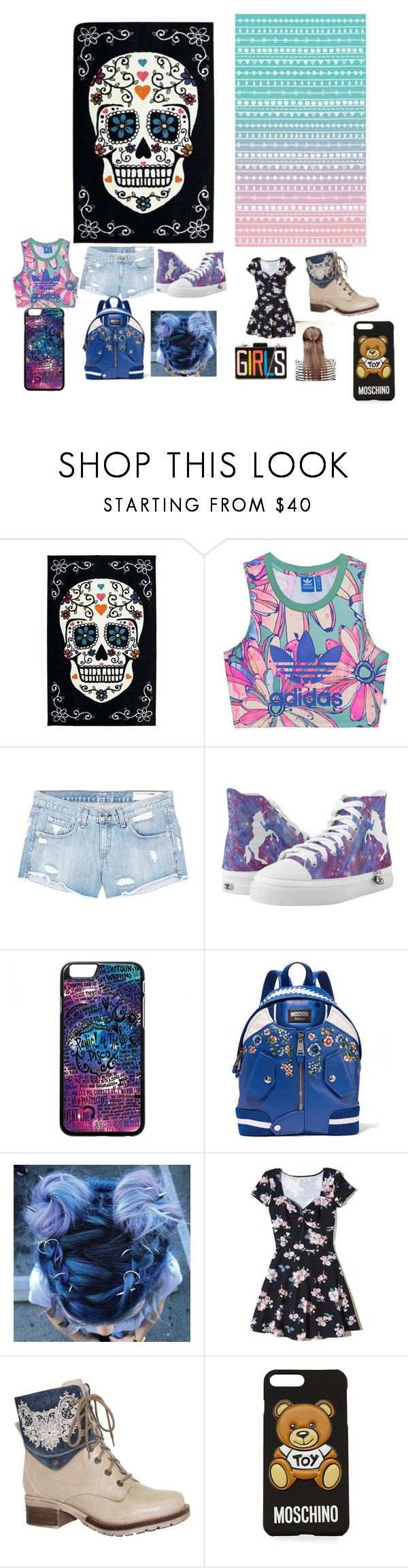 """""""Tomboy vs Girly Girl"""" by hotpink179 ❤ liked on Polyvore featuring adidas Originals, rag & bone/JEAN, Moschino, Hollister Co., Dromedaris, girly, tomboy and fashionset"""