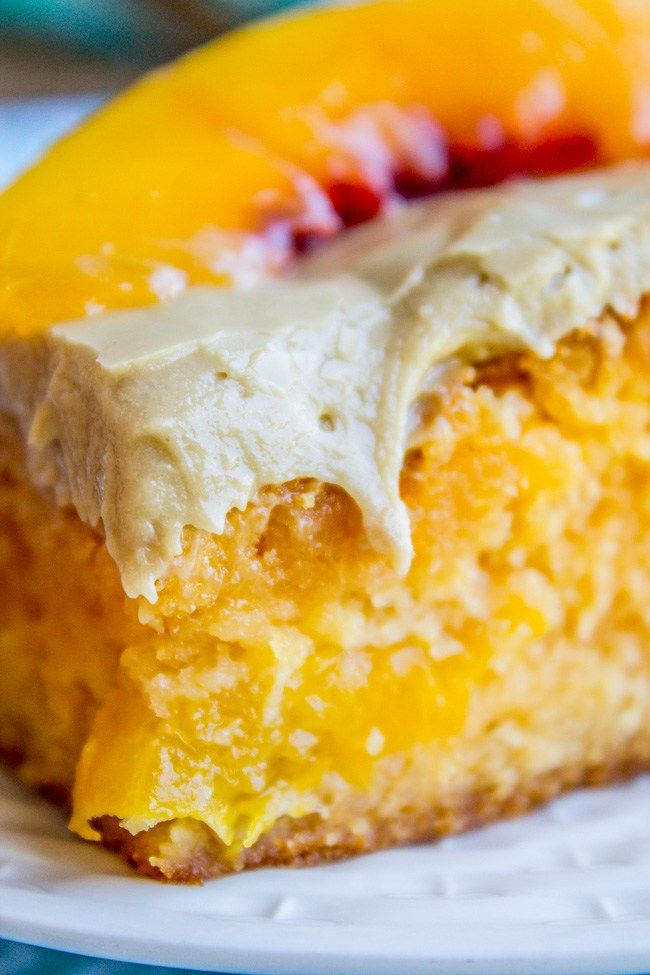 A delightfully peachy cake made from a cake mix and a packet of Jello, of all things! There are real peaches in the cake, which makes it super moist (ok, and a lot of oil). It is topped with a rich…