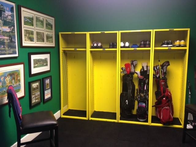 Here s a unique locker idea for you  one of our clients used four brand new  stadium lockers to make a  golf room  for their clubs and shoes  and even  hung  Best 20  Golf room ideas on Pinterest   Golf gifts  Golf and Golf  . Golf Decorated Rooms. Home Design Ideas