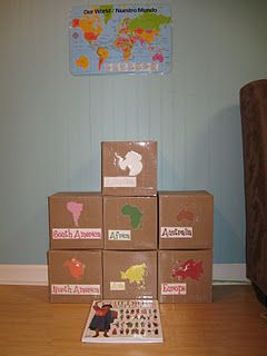 These are continents in a box. I love the idea that children can explore the continent (looking through pictures of places, animals, people, etc).  This would be great to do with countries and states as well.