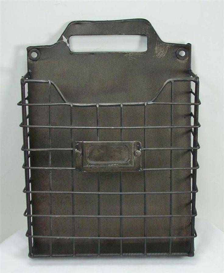 Rustic Style Metal Wire Basket Wall Pocket Organizer