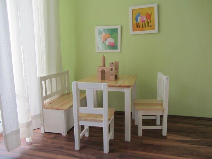 Kindersitzgruppe 1x Kindertisch 2x Kinderstuhl 1x Kindersitzbank NATUR weiß NEU in Möbel & Wohnen, Möbel, Tisch- & Stuhl-Sets | eBay!