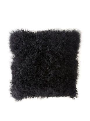 Belle Epoque Mongolian Lamb Throw Pillow (Black)