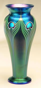 blue peacock vase by orient and flume