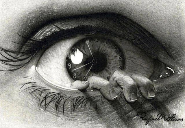 Realistic 3d eye and clock