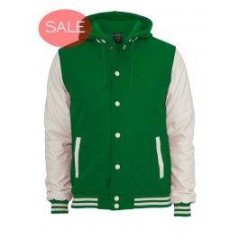 URBAN CLASSICS GREEN WHITE HOODED OLDSCHOOL VARSITY JACKET - Jackets and Coats - Menswear