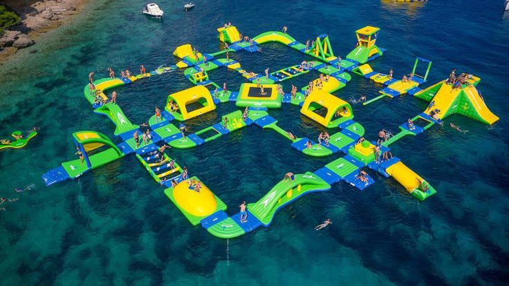 """An """"enormous floating playground"""" will soon becoming to the Shark Wake Park on the freshwater lake at the North Myrtle Beach Part and Sports Complex."""