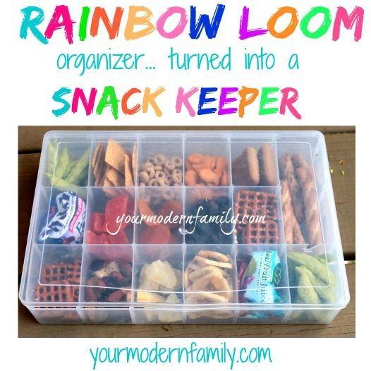 rainbow loom snack box - rainbow loom organizer turned snack box. Cool idea. I'm thinking for me, a week's worth of snacks to take to work!