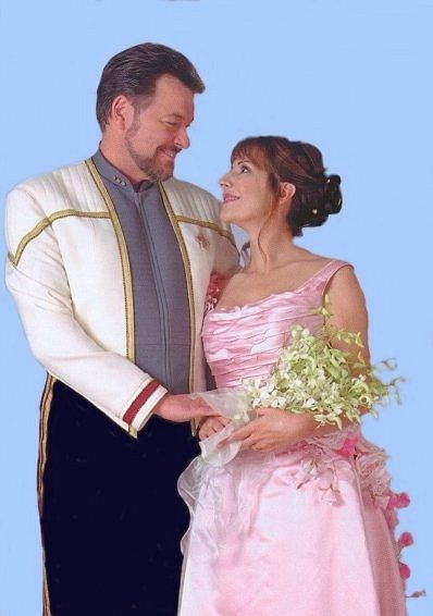 William Riker and Deanna Troi wed at last in Star Trek: Nemesis.