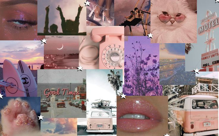 Aesthetic Screensaver Collage Pink in 2020   Screen savers ...