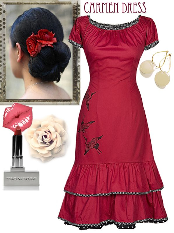 """Our Classic """"Carmen"""" dress with - Accessories: E & L flowers in the hair. Our Dot-earrings and we recommend this kiss-friendly eco lipstick from Tromborg."""