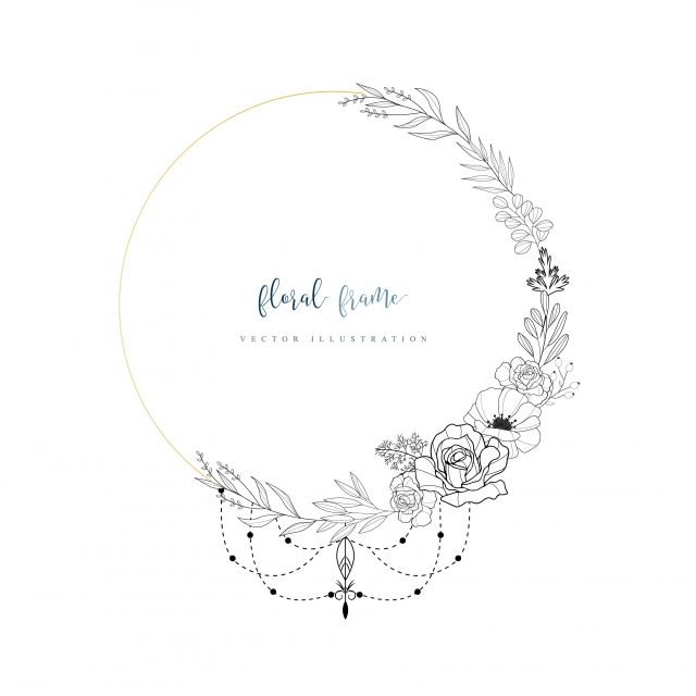 Hand Drawn Floral Frame With Boho Style Floral Clipart Frame Gold Png And Vector With Transparent Background For Free Download How To Draw Hands Drawing Frames Flower Sketches