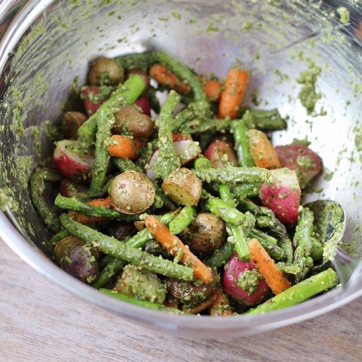 Roasted Spring Vegetable Arugula Salad with Arugula Pesto Vinaigrette