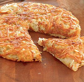 Crisp Rösti Potatoes. Essentially a giant latke, rösti potatoes are the Swiss version of the classic potato pancake. Serve it topped with smoked salmon, sour cream with chives, or braised Savoy cabbage. DELISH!