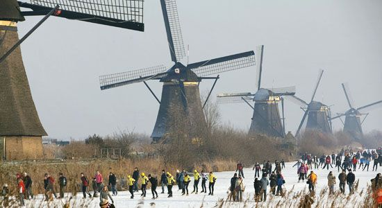 Ice Skating on the Kinderdijk in The Netherlands