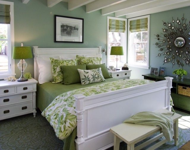 layered green bedroom