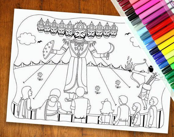 Dussehra Colouring Page Diwali Colouring Page By Yellowdoodleshop Diwali Drawing Coloring Pages Art N Craft