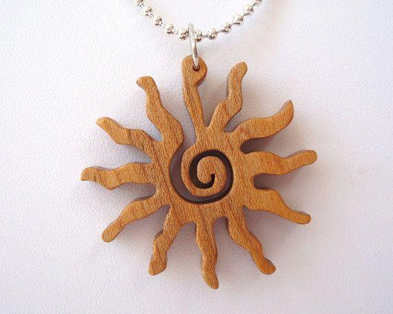Southwestern Petroglyph Jewelry Sun Pendant Necklace Rock Art Themed Hand Cut Scroll Saw Maple