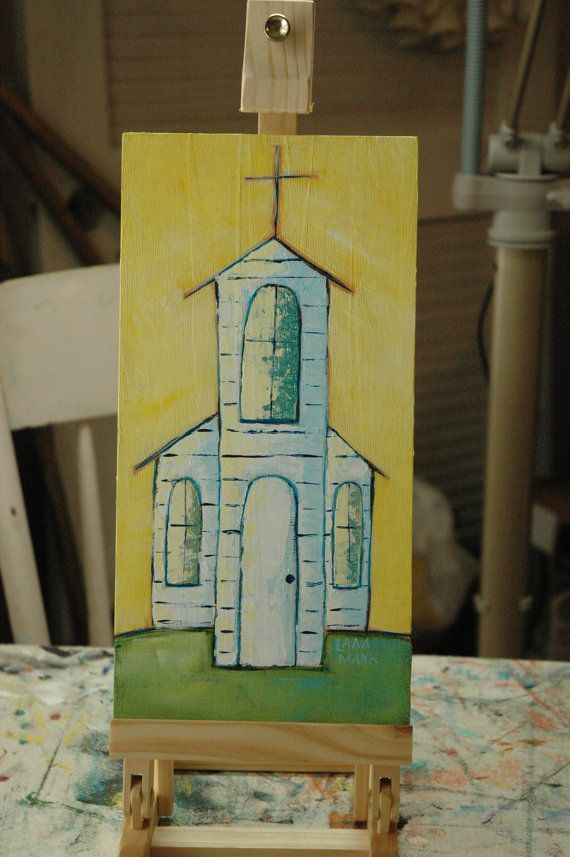 My dad was a country preacher, pastored several churches during his lifetime, and held many revivals in the rural areas of middle and east Tennessee where we lived. This series of church paintings is inspired by all the little country churches I attended as a child.  Title: Then Sings My Soul Subject: church Colors: sunny yellow, aqua blue, spring green, white Medium: acrylic on cradled hardboard Size: 6 x 12  The hardboard is painted on the sides so no frame is needed unless you wish to…