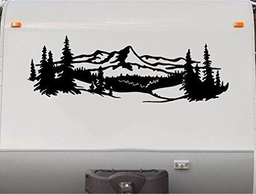 Mountains Lake Pine Tree Rv Camper Vinyl Decal Sticker Gr