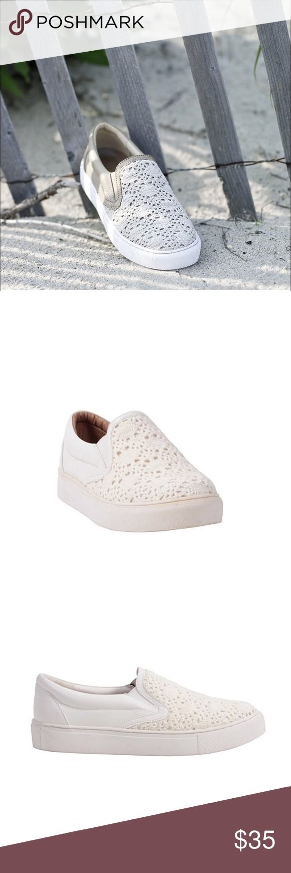 White Crochet Lace Slip On Sneakers Espadrilles Lace white slip on sneaker features: a macramé upper. These sneakers are a perfect shoe, for a multi-seasonal vibe that flatters every woman. Pair these sneakers up with jeans for a more casual look, dress pants for a smart casual look or if you're looking for a flirty and girly look, put on a skater skirt or flowy dress. Boutique Shoes Espadrilles