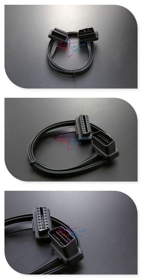 OBD2/OBD 2 /OBD-II/OBD - II Extension/Adapter Connector Cable, 16 Pin 1m flat for ECU car engine control unit / Car Diagnostic