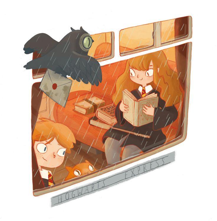 Harry Potter illustration by Céline Deregnaucourt