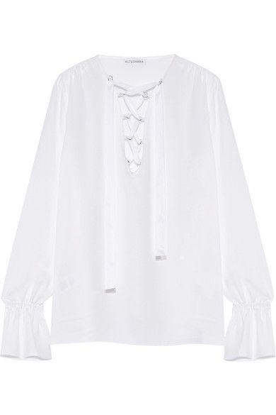 Altuzarra - Capulet Lace-up Silk-blend Crepe Blouse - White
