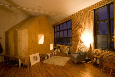 a small space: cabin in a loftSmall Cabin, Brooklyn Loft, Little Cabin, Cabin Bedrooms, Loft Spaces, House, Small Spaces, New York Architecture, Sleep Room