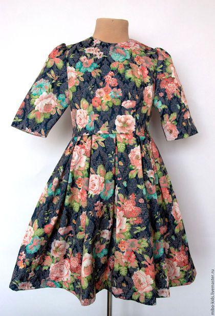 Одежда для девочек, ручной работы. Ярмарка Мастеров - ручная работа. Купить Жаккард синий с цветами. Handmade. Тёмно-синий, в наличии