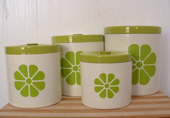 kitchen canister set with lids lime green design on white vintage retro ready to ship. Black Bedroom Furniture Sets. Home Design Ideas