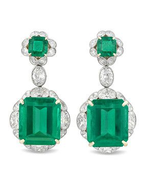 Colombian Emerald and Diamond Earrings 33.83 Carats