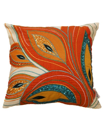 "Divine Designs ""Art Peacock"" Decorative Pillow. I really like the idea of throwing orange with peacock colors."