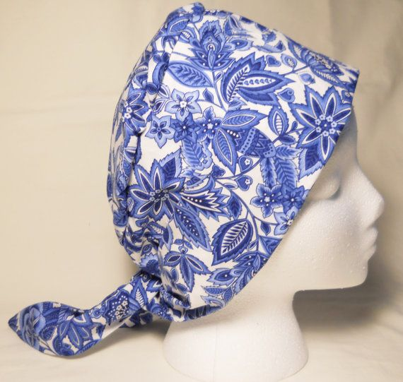 Tie Back Chemo Hat / Blue & White Chemo Hat / by SamBabyStudio