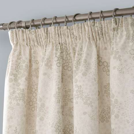 Natural Aubrey Thermal Pencil Pleat Curtains
