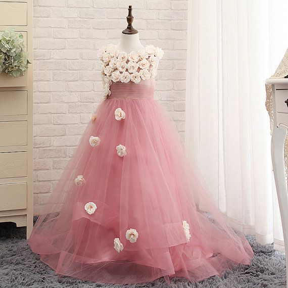 Lace Flower Girl Dresses Tulle Flower Girls Dress by luulladress