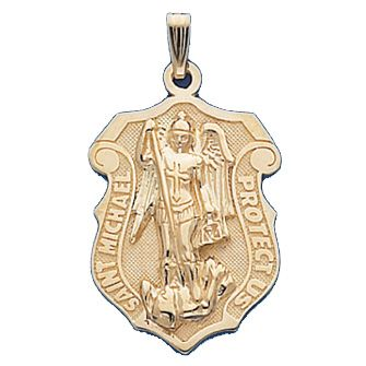 16 best st michael medals images on pinterest saint michael san 14kt yellow gold 1in st michael shield pendant mozeypictures Choice Image