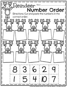 Preschool Counting Worksheets for December - Reindeer Number Order.