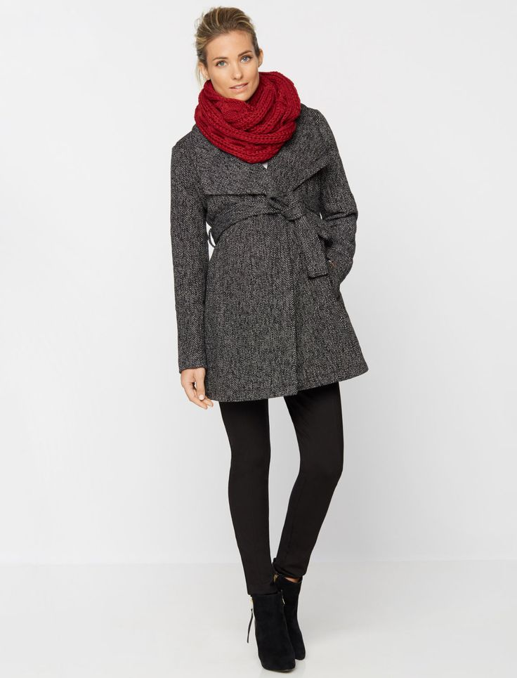 wrap wool maternity coat by A Pea in the Pod | Winter Maternity Essentials