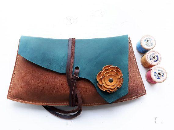 Fairytale woodland, medium clutch Purse, Leather Bag ISOLDE 3218 mermaid, tan