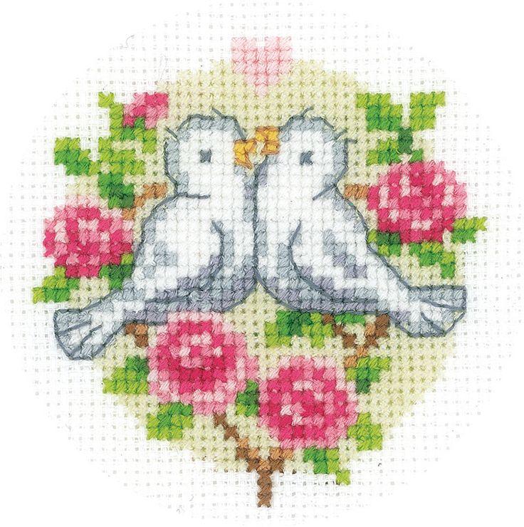 Kanaviçe aşık kuşlar mini tablo