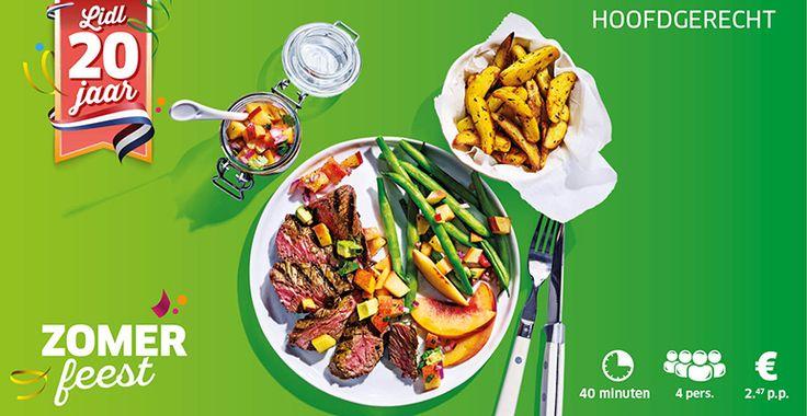 Recept voor malse biefstuk met nectarinesalsa, sperziebonen en aardappelpartjes. #lidl #biefstuk #salsa #zomer