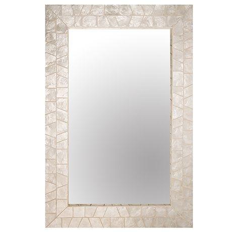 Powder Room  Capiz Mirror 60x90cm  White