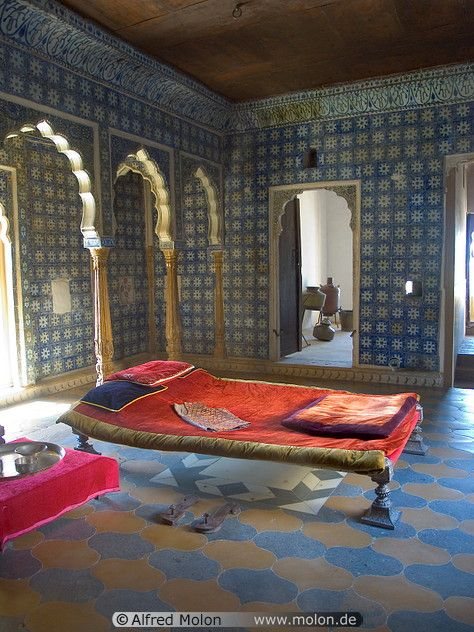 Gorgeous room in a house in India. During the afternoon, when the  temperature increases outside, most Indians have a nap time on this  beautiful coloured ...