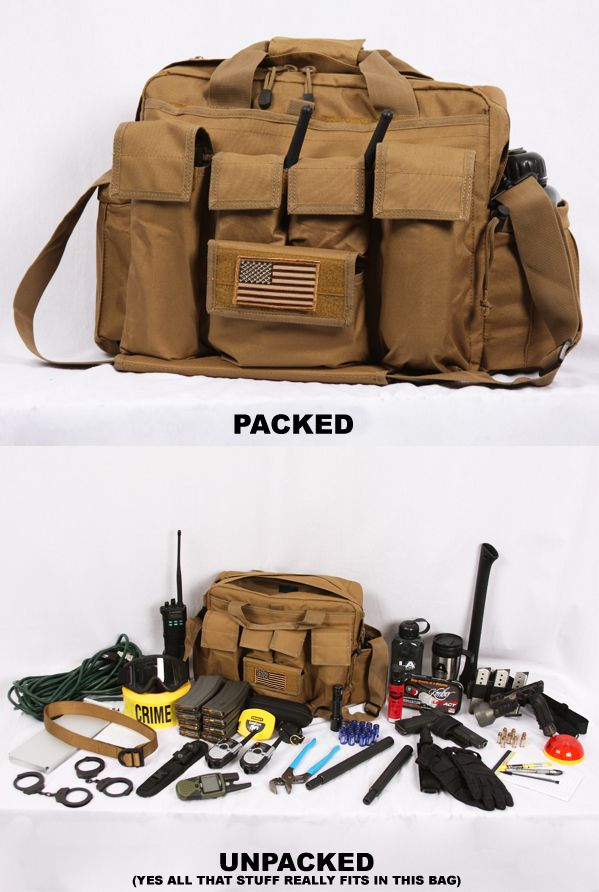 This is the type of B.O.B. (Bail Out Bag) that I will own. It is my all purpose BOB that stays in my trunk and hold emergency items. Not all items shown in the picture represent what I have in mine. I have winter gloves, hat, water tabs, 80' rope, spare mags, ammunition (only kept in the car while I am traveling), a small first aid kit, roll of quarters, knife, energy bars, emergency blanket, flint, water proof matches, collapsible baton, water proof note book, tactical pen and a few other…