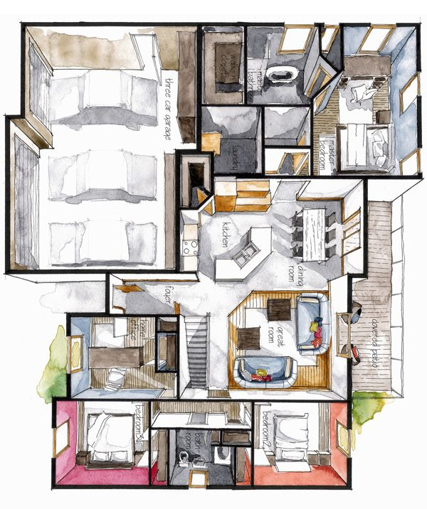 Real Estate Color Floor Plan 8 by Boryana, via Behance