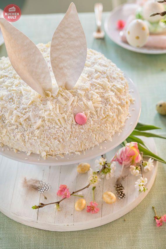 Ostertorte Erdbeer-Pannacotta-Torte Coppenrath und Wiese als  Hasentorte mit  Ohren -einfaches Rezept - easter cake
